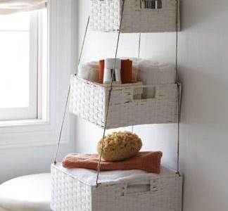 Idėja namams: vonios lentyna iš krepšių