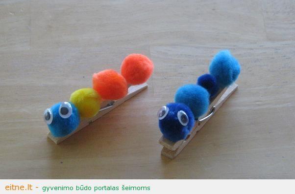 Darbeliai su vaikais: skalbinių segtukų vikšreliai