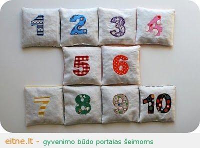 Gaminame žaislus: pupų maišeliai su skaičiukais