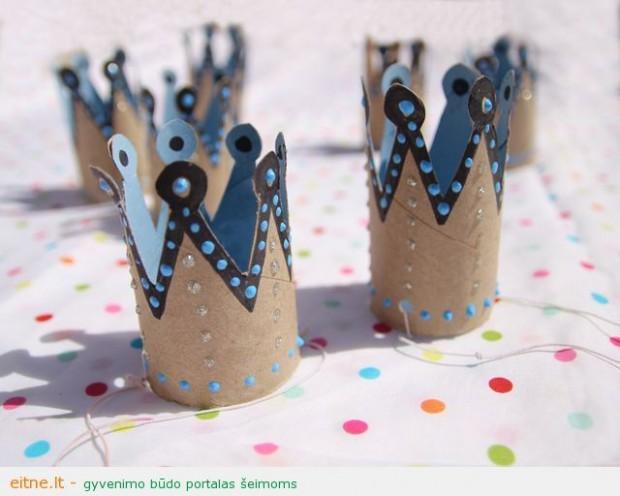 Darbeliai su vaikais: karūnos gimtadieniui iš tualetinio popieriaus tūbelių