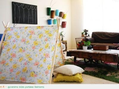 Idėja vaikų kambariui: palapinė iškyloms ar dekorui