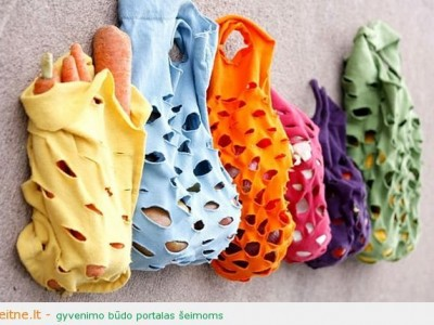 Rankdarbio idėja: pirkinių krepšys iš senų marškinėlių