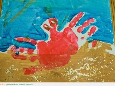 Piešimo technikos: piešimas rankomis – krabas