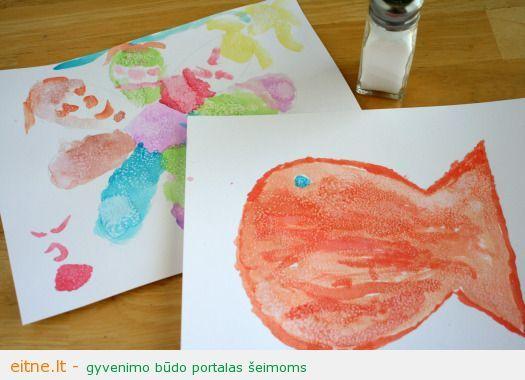Piešimo technikos: piešimas akvarele ir druska