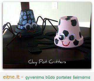 Darbeliai su vaikais: voriukai iš vazonėlių