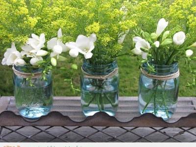 Idėja namams: stiklainių vazos