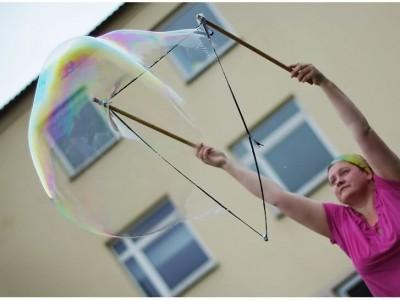 Šlapias, bet linksmas burbuliatorius
