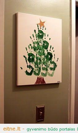 Darbeliai su vaikais: rankomis piešta eglutė