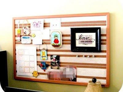 Idėja namams: kamštinė lenta, dekoruota juostomis