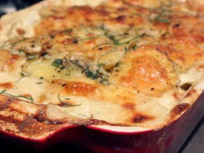Vištienos apkepas su cukinijomis ir bulvėmis