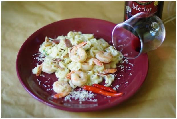 Idėja vasaros pietums: makaronai su krevetėmis
