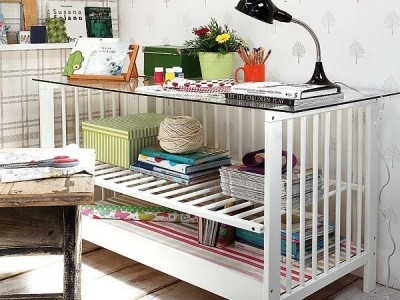 Idėja namams: kitoks vaikiškos  lovelės panaudojimo būdas