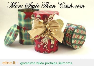 Kalėdinių dovanų pakavimas: dovanų dėžutė iš skardinės