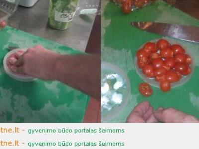 Vyšninių pomidorų pjaustymo gudrybės