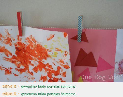 Darbeliai su vaikais: dekoruoti segtukai piešiniams sukabinti