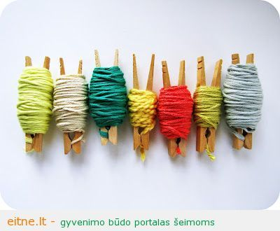 clothes pin ends of yarn