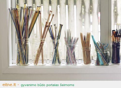 knitting needle storage mason jars