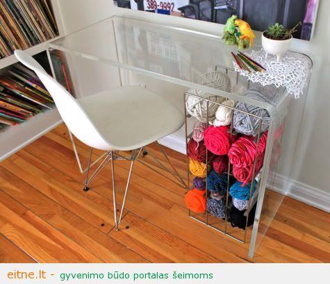 wine rack yarn storage under desk