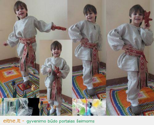Improvizuotas baltiškas kostiumas penkiamečiui