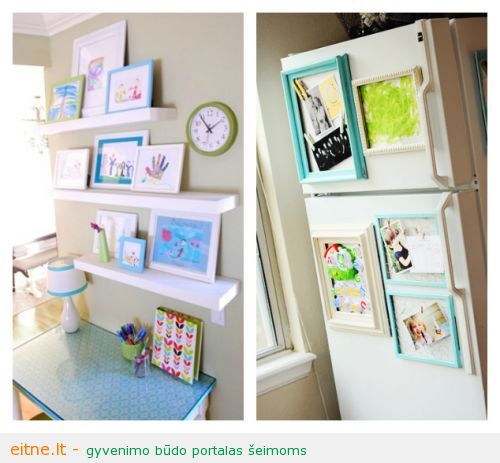 21-Ways-to-Display-Kids-Artwork-Art-ledges-and-magnetic-frames