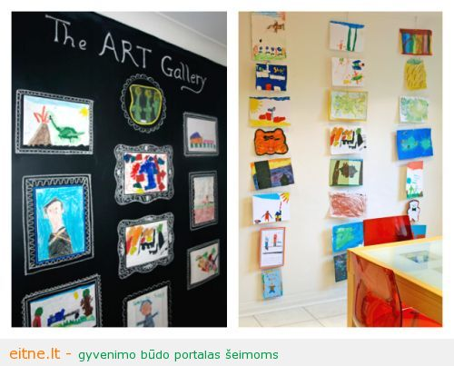 21-Ways-to-Display-Kids-Artwork-Chalkboard-gallery-and-hanging-display-wire
