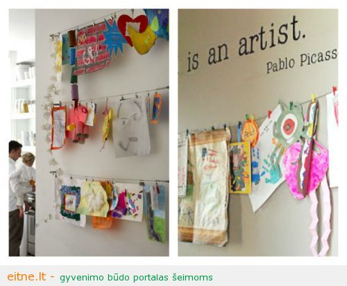 21-Ways-to-Display-Kids-Artwork-Hang-them-on-a-display-wire