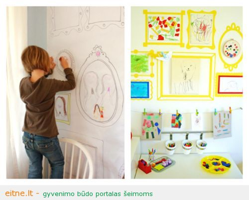 21-Ways-to-Display-Kids-Artwork-two-DIY-frame-art-walls