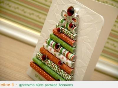 Kalėdinės dekoracijos: trimatis atvirukas