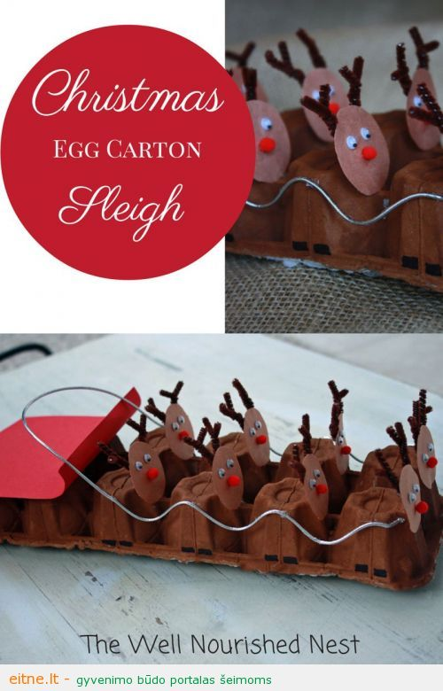 Darbeliai su vaikais: elniai iš kiaušinių dėklo